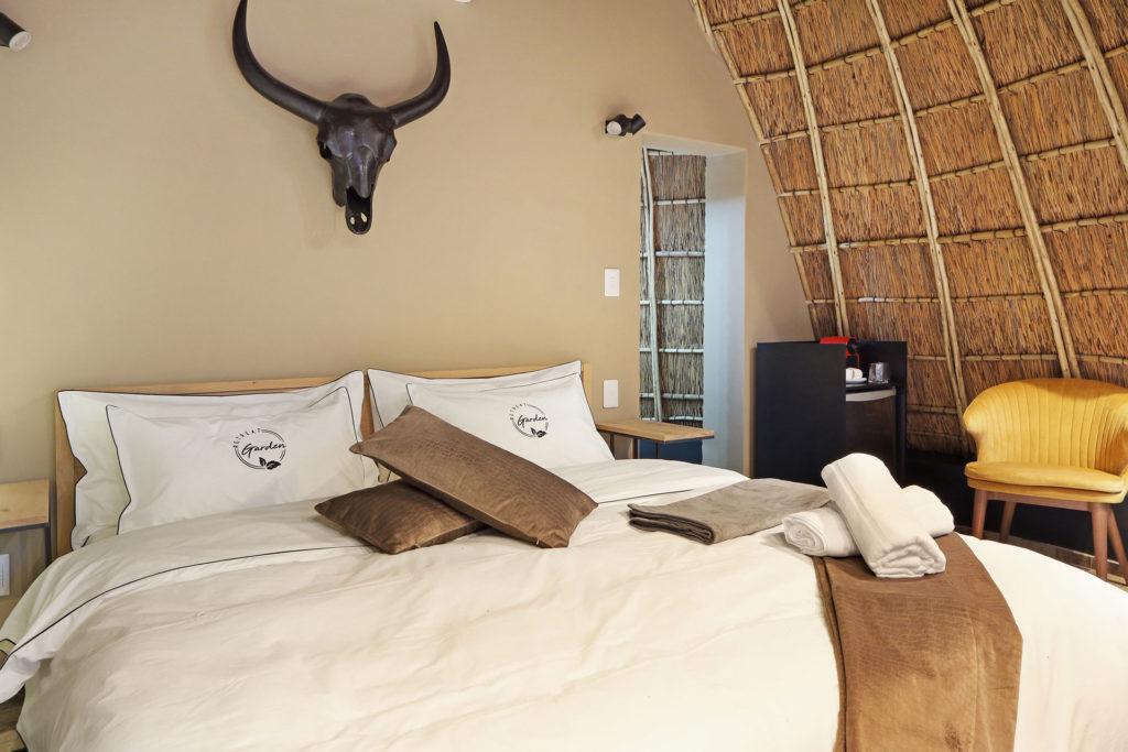 Main bedroom in Garden Retreat's Luxury Rondawel